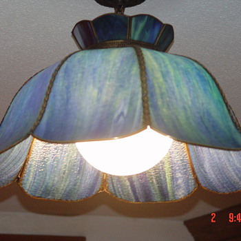 Blue &amp; Green Stain Glass Light