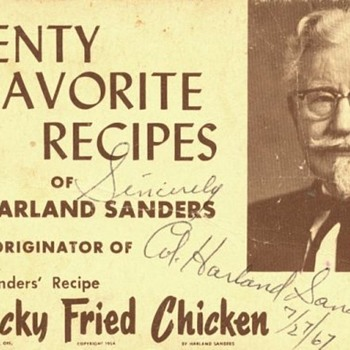 cornel sanders autograph kentcky fried chicken