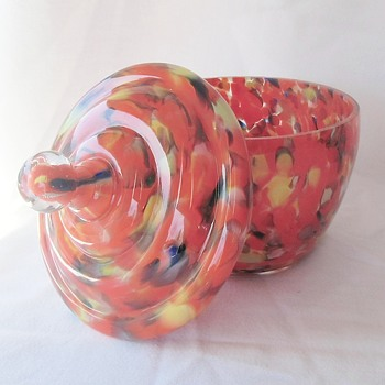 New Addition To The Ruckl Orange Spatter Family - Lidded Jar - Art Glass