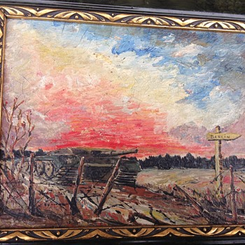 WW2 oil painting of a tank on its way to  Burlin by lieutenant ratko with letter.