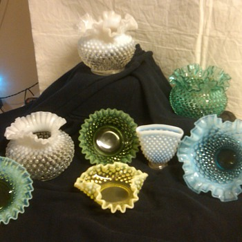 collection of fenton hobnail bowls and vases 