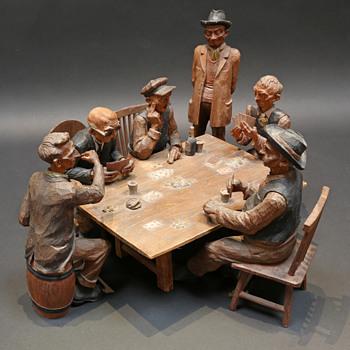Emil Janel- Poker players 1934 - Folk Art