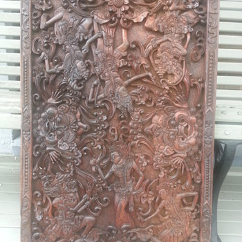 CARVED BALINESE WOOD PANEL - Asian