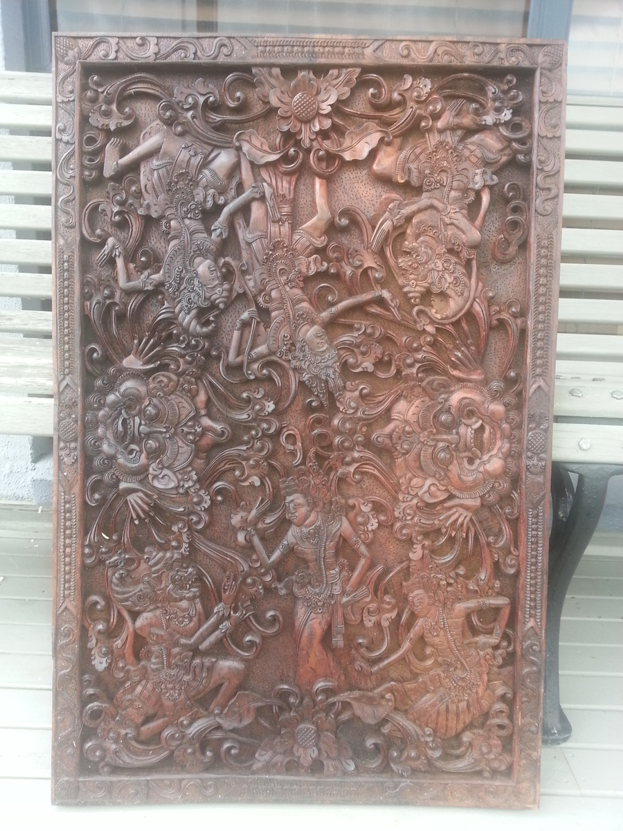 Carved balinese wood panel collectors weekly