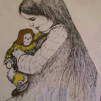 Art Engraving by Don Russell Girl and Raggedy Ann Doll - Posters and Prints