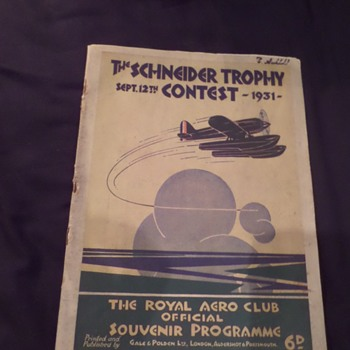 Art Deco. Original Schneider Trophy Contest programme. 1931 - Art Deco