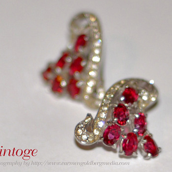 My Masterpiece Grapevine Raspberry Red Ruby Earrings - Costume Jewelry