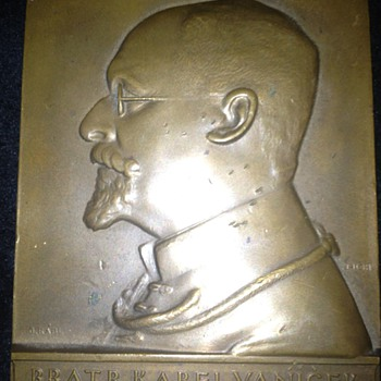 Czech (?) Bronze  Portrait Plaque.   Anyone read Czech?