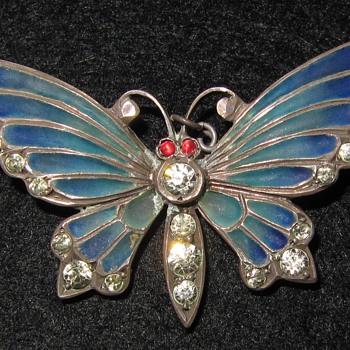 Meyle & Mayer silver plique-a-jour enamel butterfly brooch.