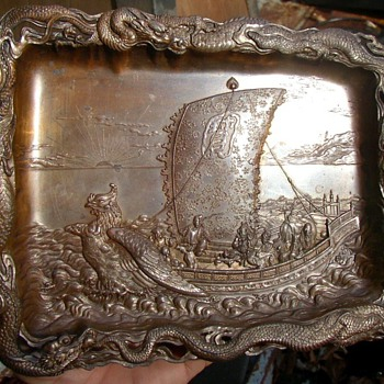 Pierced Dragon rimmed ship voyage embossed Oriental pewter tray
