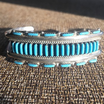 Vintage Native American Sterling Silver Zuni Turquoise Cuff - Native American