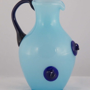 Kralik Art Deco Blue Tango Pitcher With Prunts - Art Glass