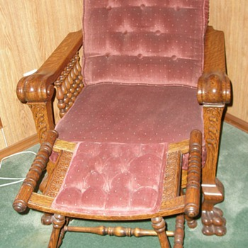 Oak Morris Chair and Foot Rest, Oak Fern Stand