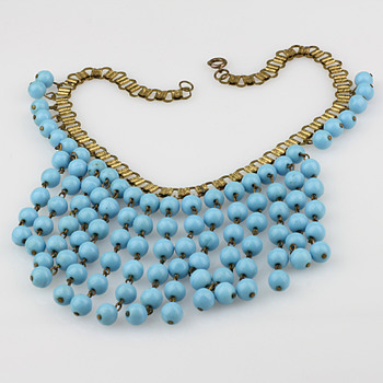 Blue glass statement necklace - Costume Jewelry