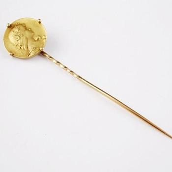 Art Nouveau gold stickpin -- Emile Vernier