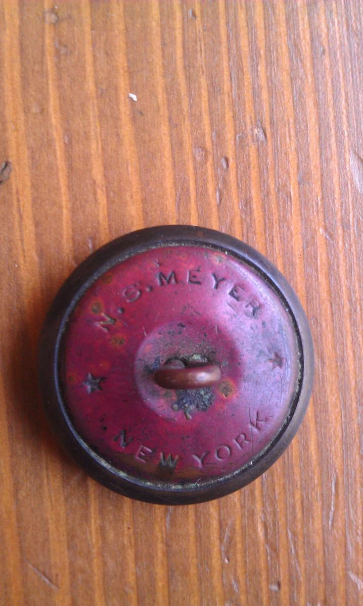 Antique Miltary Brass N S Meyer New York Coat Button