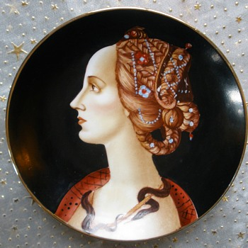 Simonetta Vespucci for H. Liebes & Co.  S.F. Merchant Hand Painted Plate RARE! - Visual Art