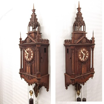 "1876  Johann Baptiste Beha ""MONK WITH CUCKOO CLOCK"" dual automation  - Clocks"
