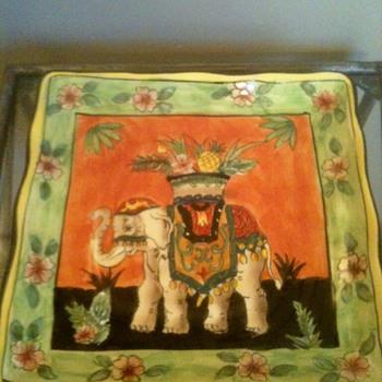 Vintage Elephant Plate  - Art Pottery