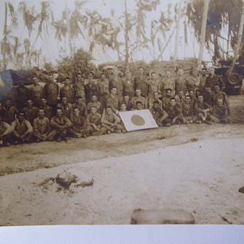 PHOTO FOUND IN ALBUM, WW11, PHILLIPPNES? OUR TROOPS WITH JAPANESE FLAG.