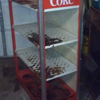 cocoa cola metal three shelf stand