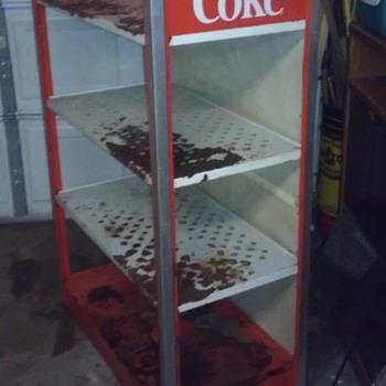 cocoa cola metal three shelf stand  - Coca-Cola