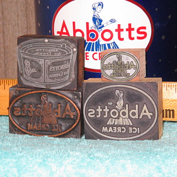 Abbotts - Abbott's Dairy Ice Cream Philadelphia - Bethlehem Pa. printing blocks