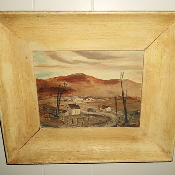 "Tiny oil painting by Siegrist ? from thrift store $2.50 7"" X 5"""