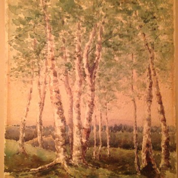 Wooded scene 19th century watercolor Signed HWS  - Visual Art
