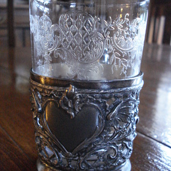 Bohemia crystal beacker with metal stand - Art Nouveau