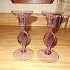 Pair unidentified Neodymium Alexandrite high quality crystal candlesticks