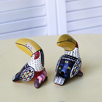 Two Ceramic Toucan Whistles from Mexico - Animals