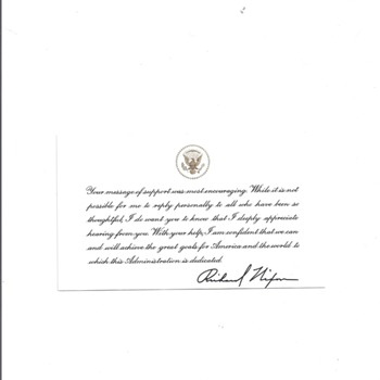 """RICHARD NIXON"" APPRECIATION CARD TO A CITIZEN"