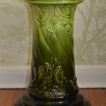 Antique green majolica jardiniere pedestal - Art Pottery