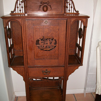 Victorian Stick and Ball Carved Oak Music Cabinet   - Victorian Era