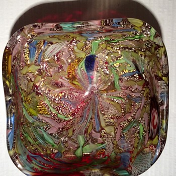 Murano tutti frutti square bowl - Art Glass