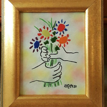 Bouquet Enamel on Copper 8x10 After Picasso, by Max Karp