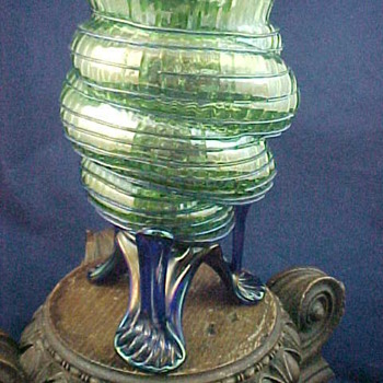 Kralik Sea Shell Vases with Strutted Base in a Vertical Rib Decor... - Art Glass
