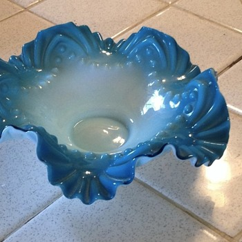 Blue wavy glass bowl