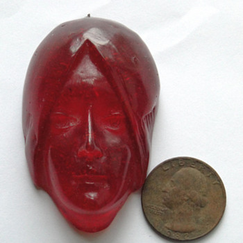 Art Nouveau Lady's Head Pendant Resin - Costume Jewelry