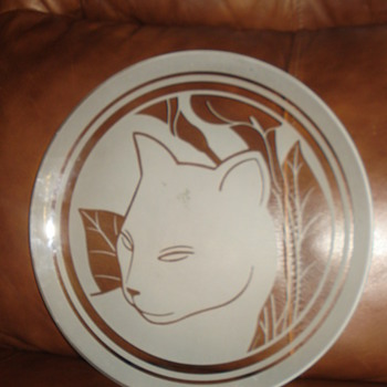 ETCHED CAT GLASS THIN PLATE - Glassware