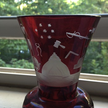 Freemason Firing glass - red etched glass