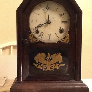 Inside of 8 Day Atkins Clock Co. 1850s mantel clock - Clocks