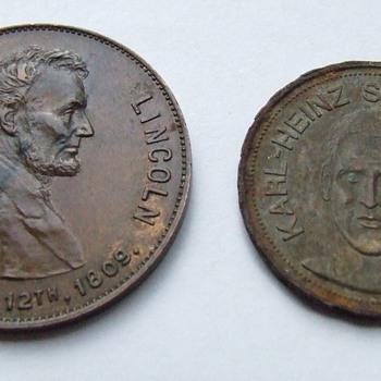 Lincoln Centennial Medal ~ Karl  Heinz-Schnellinger Token - US Coins
