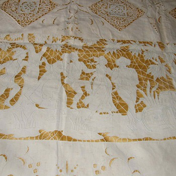 1800&#039;s Richelieu embroidered bedspread ,cushion  - Rugs and Textiles