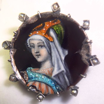 Stunning very old silver (vermeil?) enameled Limoges brooch