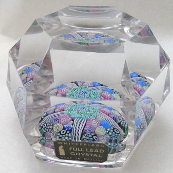 Whitefriars 1974 Paperweight P20 Brick Cut Twists & Florets