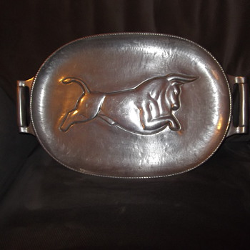 Bruce Fox signed hand wrought aluminum meat tray