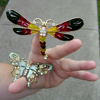 Dragonfly and Butterfly Brooches