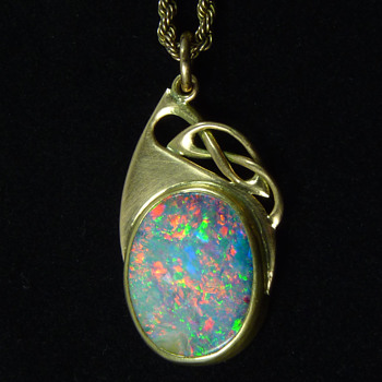 Liberty & Co Gold & Boulder Opal Pendant, designed by Archibald Knox - Art Nouveau